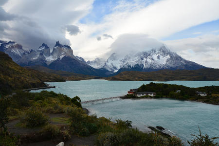 torres del paine: Pehoe Lake, Torres del Paine, Chile Stock Photo