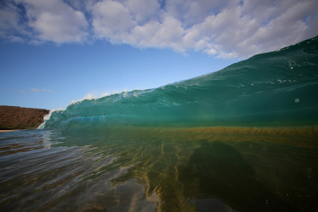 hollow: hollow wave breaking in hawaii Stock Photo