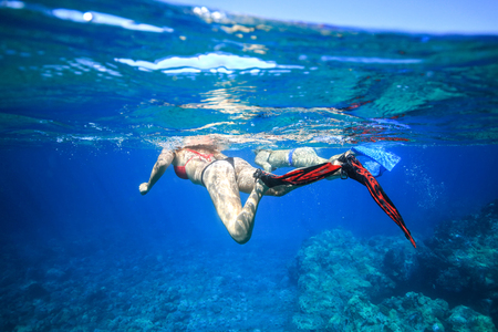 Underwater shot of the lady freediving in a sea