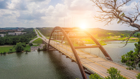 Ponte Pennybacker, Austin, Texas, Stati Uniti d'America Archivio Fotografico