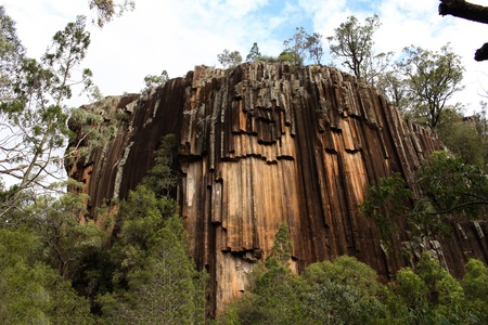 Sawn Rocks in Kaputar National Park near Narrabri, NSW, Australia. This geological feature is from volcanism and is termed organ pipes or organ piping, and also columnar jointing. Stock Photo