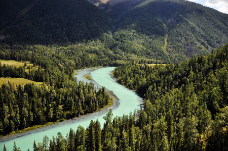 bends: Xinjiang known scenic spot Moon bends riverway Stock Photo