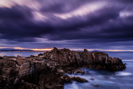 stormy sea: Stormy sea before sunrise Stock Photo