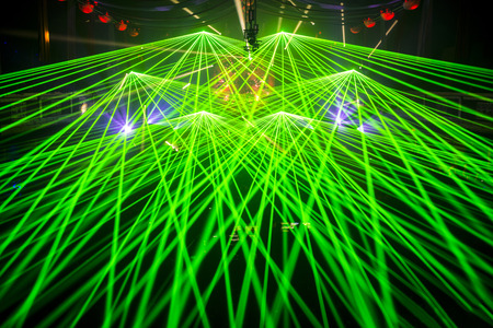 special effects: Color disco club light with special effects and laser show Stock Photo