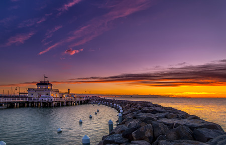 st kilda: The St Kilda Pavilion is a historic kiosk located at the end of St Kilda Pier, in St Kilda, Victoria, Australia. The kiosk was designed by James Charles Morell and built in 1904 by John W. Douglas. Stock Photo