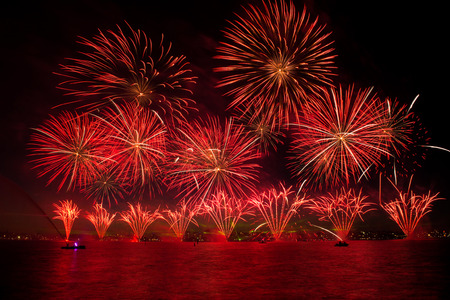 dilate: Beautiful of exploding fireworks at night. Represents a celebration.