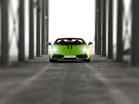 DUBAI, UAE - JUNE 22, 2016: Green Lamborghini