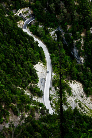 Fine road in the mountains in Switzerland. View from above