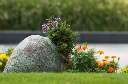 The big jug with flowers in the garden