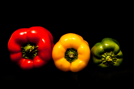 Red Pepper, Yellow Pepper, Green Pepper. Sweet peppers Stock Photo