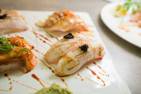 Tiger prawns on white plate