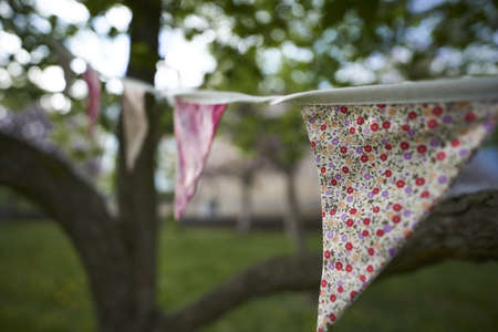 Multicolored summer Bunting flags hanging at an English garden party fete. Standard-Bild