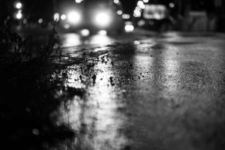 Lights and shadows on wet road at rainy night.