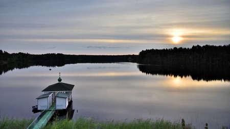 Roshchinsky lake Svirsky monastery. 版權商用圖片
