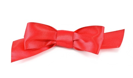Red satin bow, isolated on white background photo