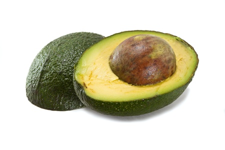 green's: Halved avocado isolated on white background Stock Photo