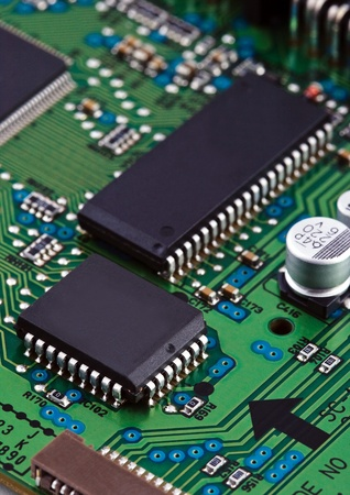 Microchips on circuit board photo
