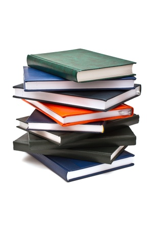 Stack of books, isolated on white background photo