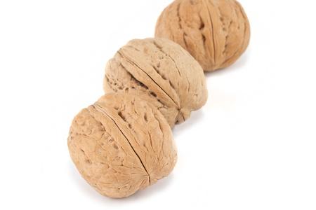 circassian: Circassian walnuts, isolated on white background Stock Photo