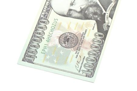 million dollars: One million dollars banknote closeup isolated on white background Stock Photo