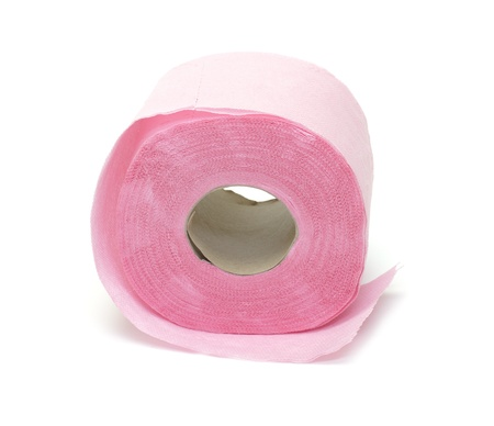 Pink toilet paper on white background photo