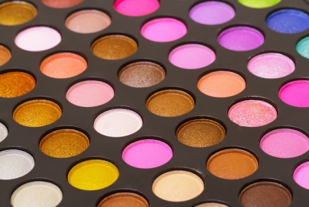 Set of  multicolored eyeshadows, closeup photo