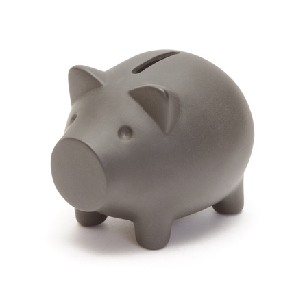 Black piggy bank  isolated on white photo