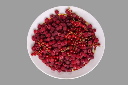 Berries mix with raspberry and red currant on grey
