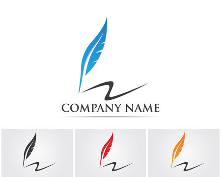 hand pen: Feather pen and write logo