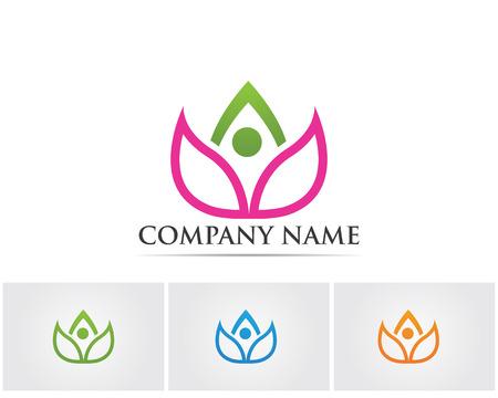 massage symbol: Vector - Lotus Flower Sign for Wellness, Spa and Yoga. Vector Illustration