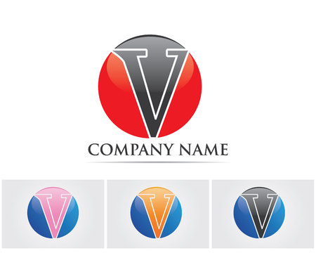 V letters business  and symbols template