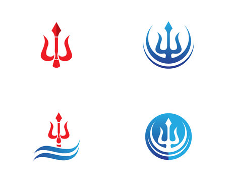 Magenta trident logo e simboli modello vettoriale