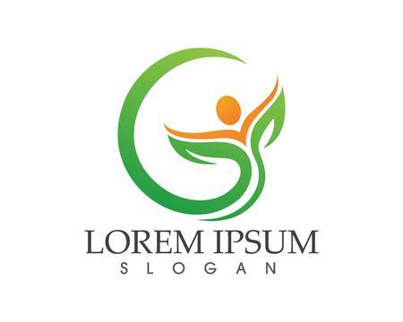 葉の緑の自然のロゴとシンボルのテンプレート ベクトル  イラスト・ベクター素材