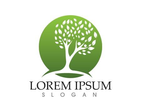 Tree green people identity card vector logo template Illustration