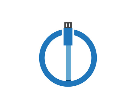 Cable wire computer and plug icons set flat design vector illustration