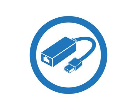 Kabeldraadcomputer en stoppictogrammen geplaatst vlakke ontwerp vectorillustratie Stockfoto - 92091727