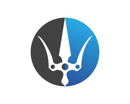Magic trident logo and symbols template vector Illustration