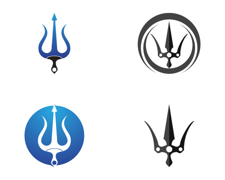 Magic trident logo and symbols template vector Illustration