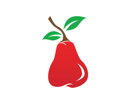 Pear in red color icons app Illustration