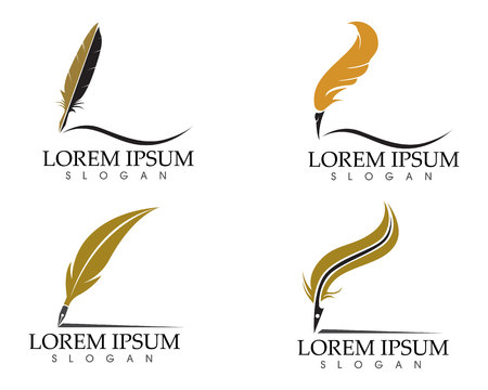 Feather pen write sign logo template app icons Imagens - 93344442