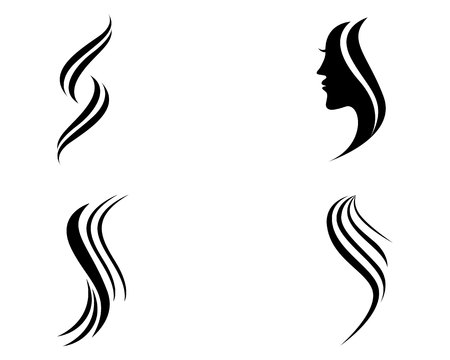Hair woman and face logo and symbols Illustration