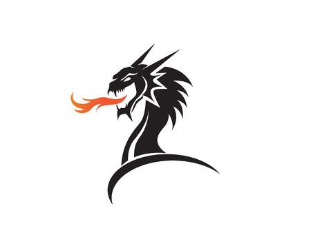 Head dragon flat color template vector illustration. Illustration
