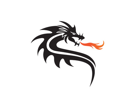Head dragon flat color template vector illustration.  イラスト・ベクター素材