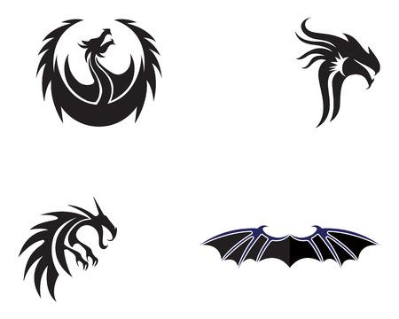 Head dragon flat color template vector illustration. Illusztráció