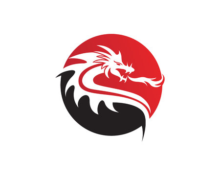 Head dragon flat color template vector illustration. 向量圖像