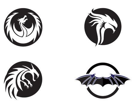 Set of head dragon flat color template vector illustration.