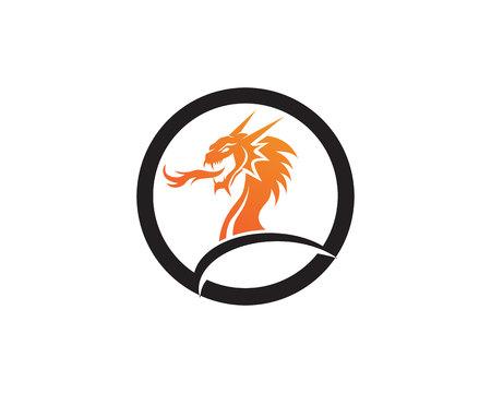 Head dragon flat color template vector illustration. Stock fotó - 94979752