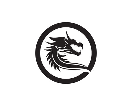 Head dragon flat color template vector illustration.  イラスト・ベクター素材