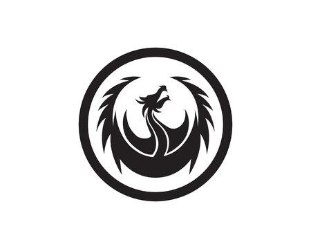 Head dragon flat color template vector illustration. Çizim