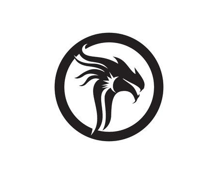 Head dragon flat color template vector illustration. 일러스트